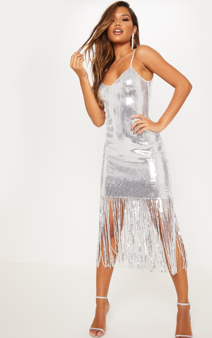 Silver Sequin Tassel Hem Midi Dress 1