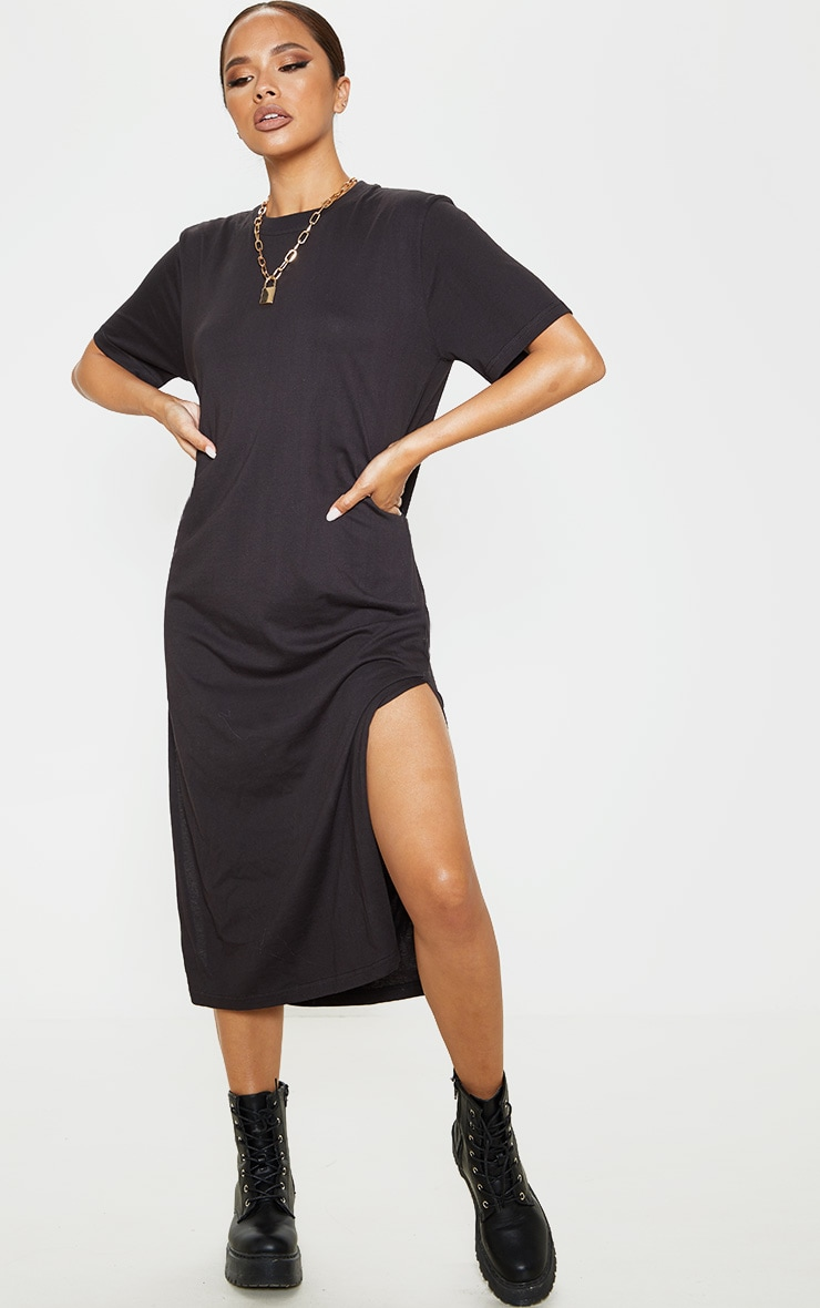 Black Split Side Midi T Shirt Dress 1