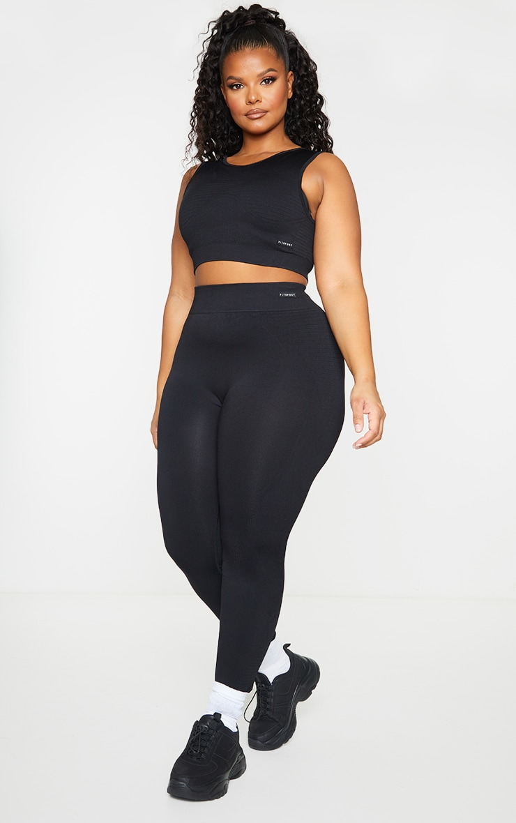 Plus Black Seamless Rib Waist Gym Leggings 1