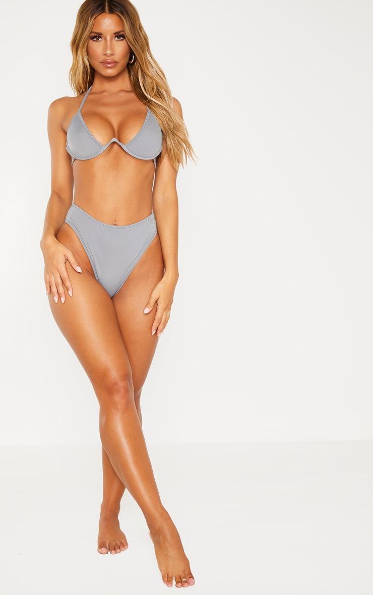 Charcoal Cleavage Wire Detail Bikini Top 4