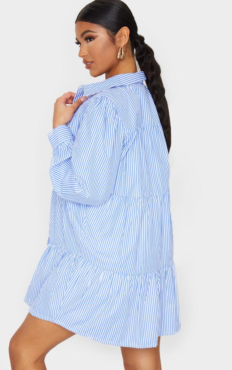 Blue Stripe Long Sleeve Tiered Shirt Dress 2
