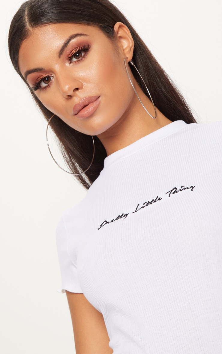 PRETTYLITTLETHING White Rib Embroidered Short Sleeve Thong Bodysuit  7
