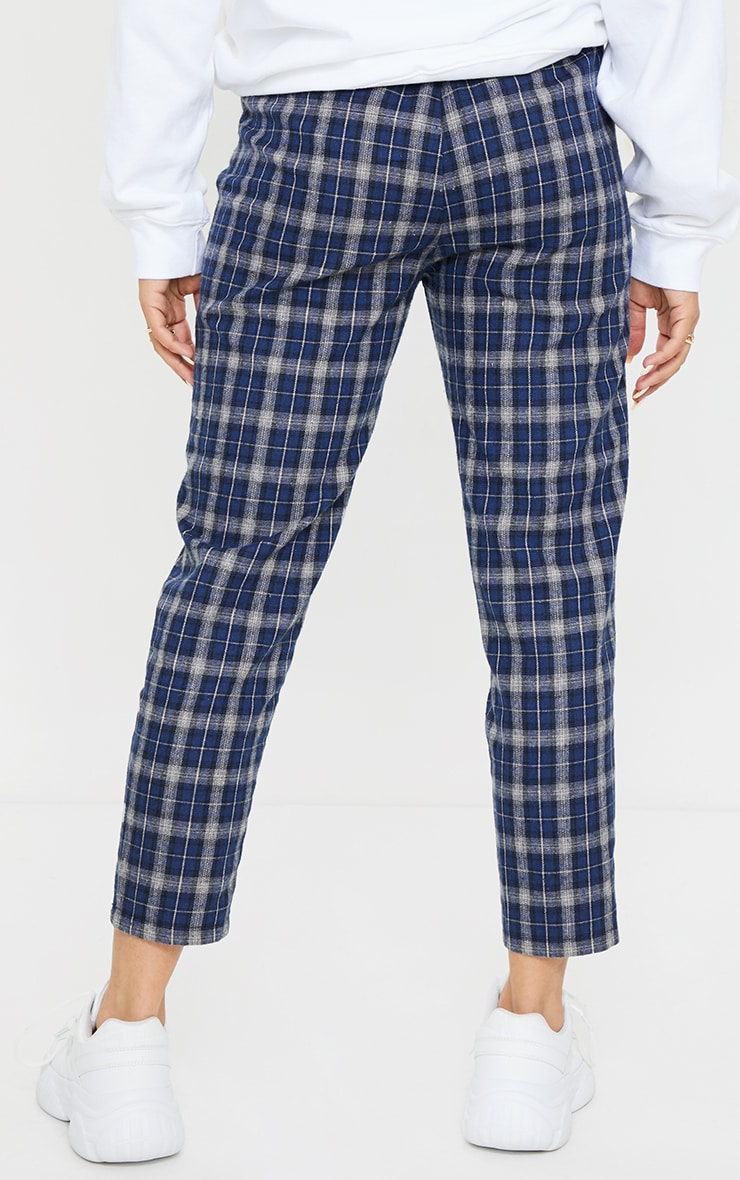 Navy Check Diya Casual Cigarette Pants 3