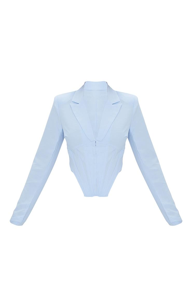 Pale Blue Woven Corset Waist Hook & Eye Cropped Blazer 5