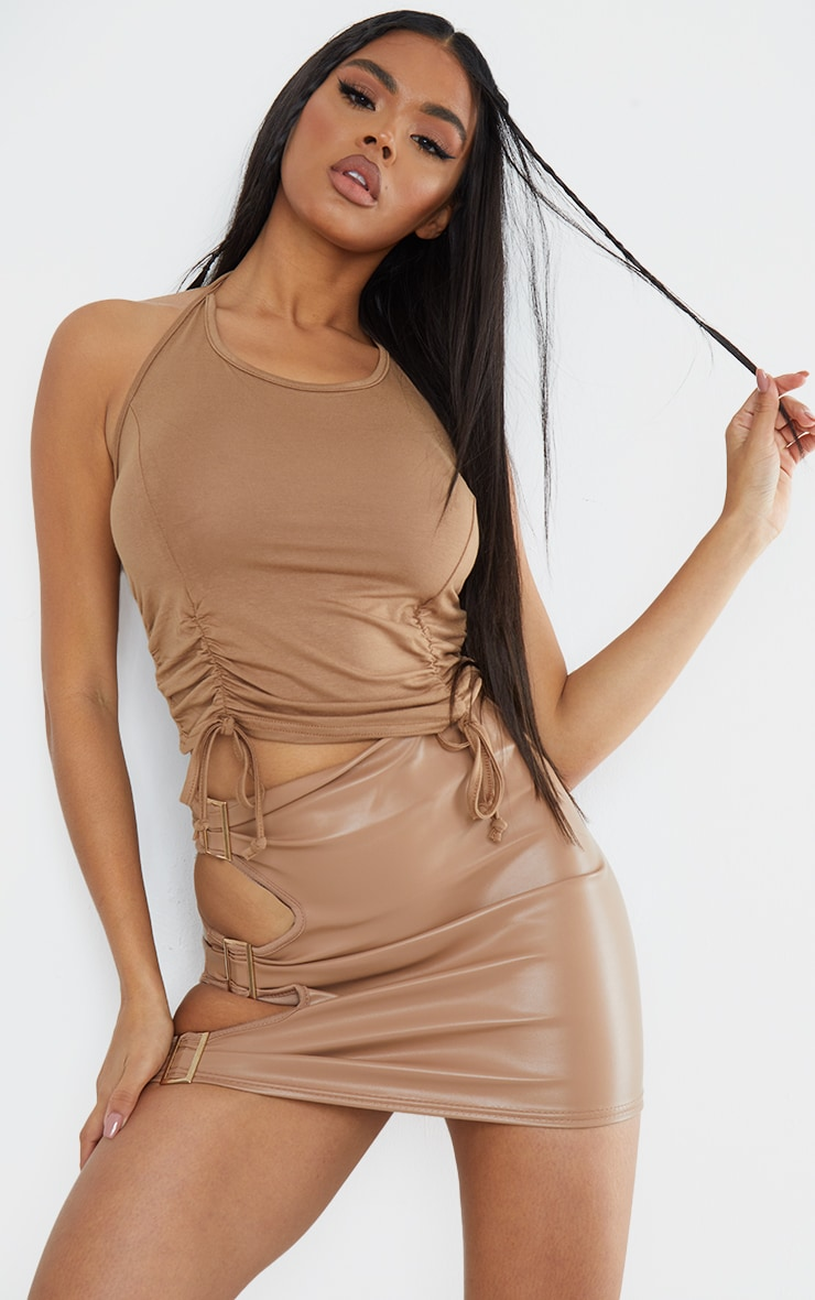 Basic Camel  Jersey Ruched Front Double Tie Halter Crop Top 1