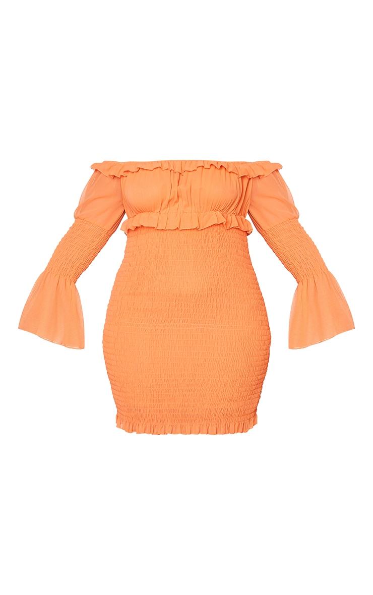 Plus Bright Orange Chiffon Shirred Bodycon Dress 5