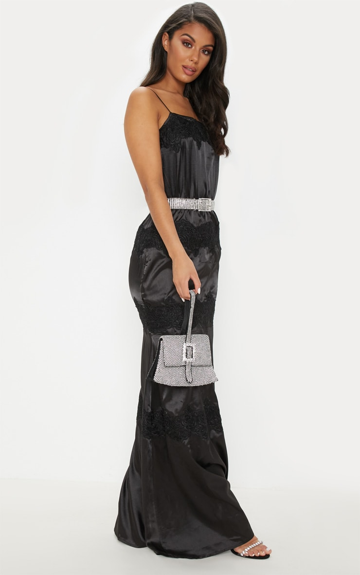 Black Lace Trim Satin Tiered Maxi Dress 4