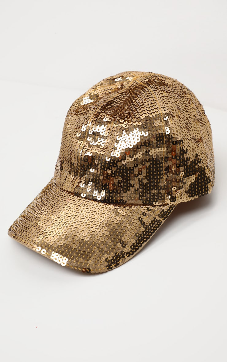 Gold Sequin Baseball Cap 2
