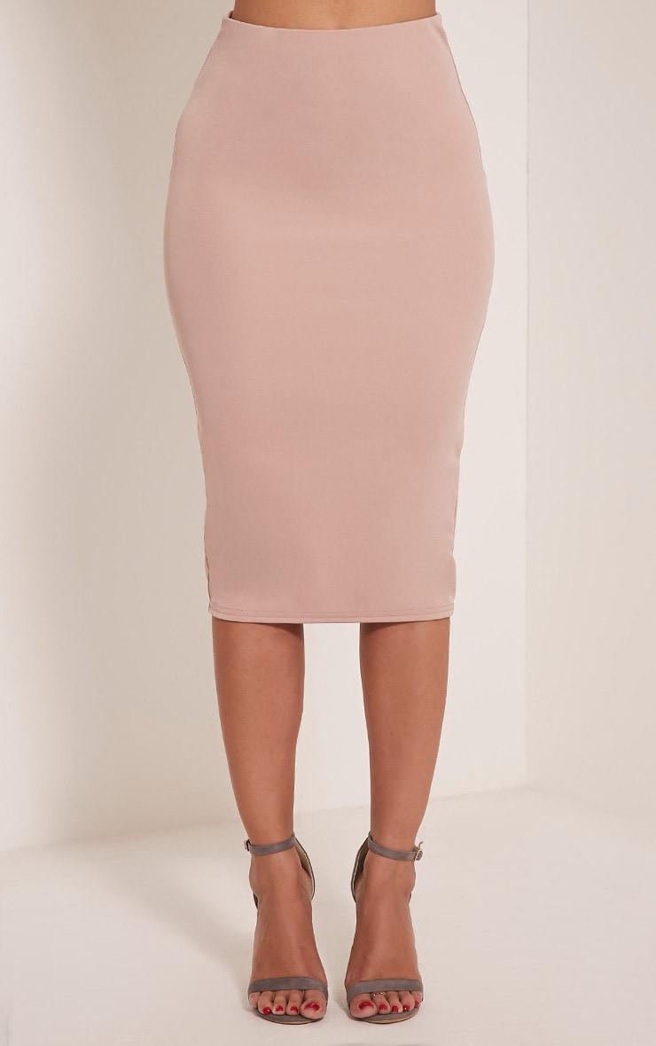 Winnie Nude Scuba Midi Skirt 2