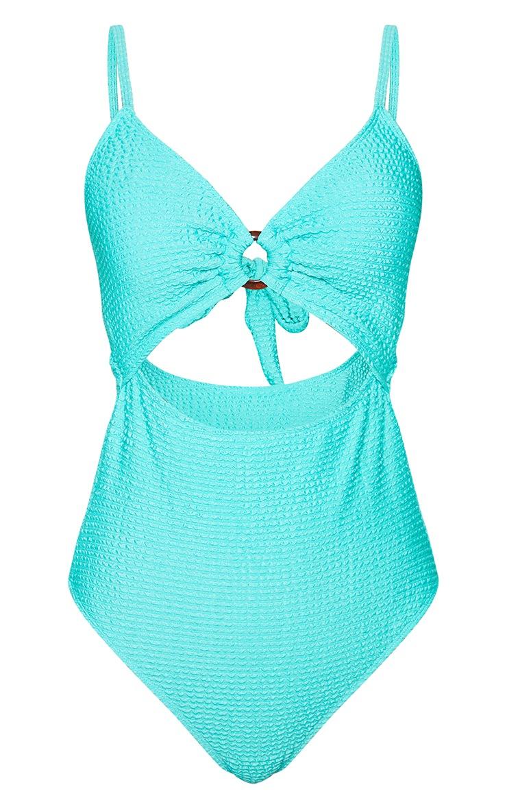 Aqua Crinkle Cut Out Tie Back Swimsuit 5