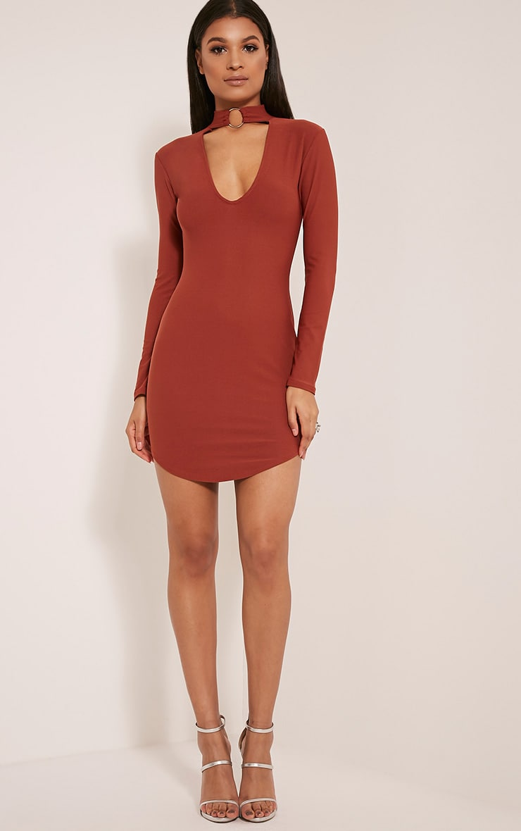 Malissa Tobacco Ring Detail Choker Neck Plunge Bodycon 5