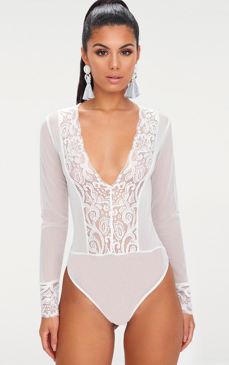 White Mesh Lace Trim Longsleeve Thong Bodysuit image 1 f6c0d29d0