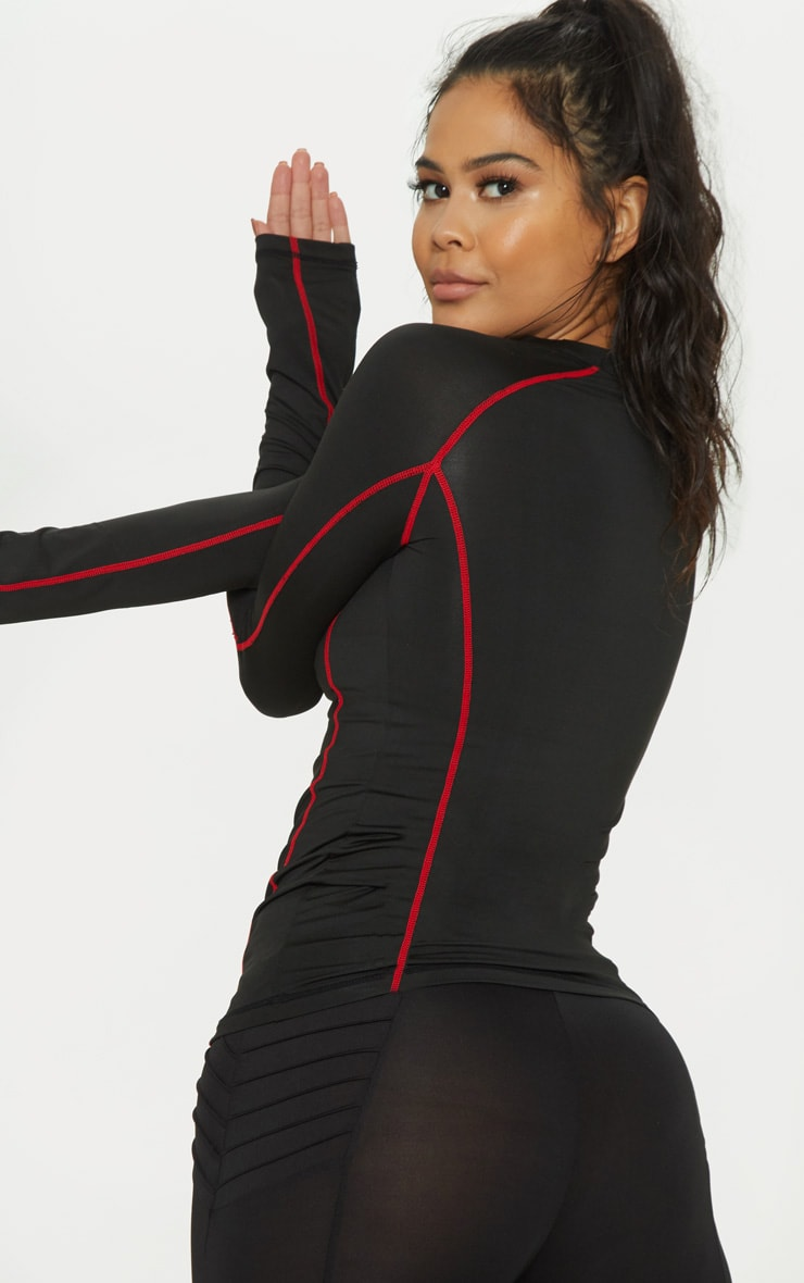 Black Contrast Stitch Long Sleeved Gym Top 2