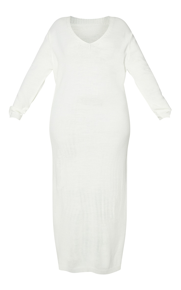 Plus Cream V Neck Midaxi Knitted Dress 5