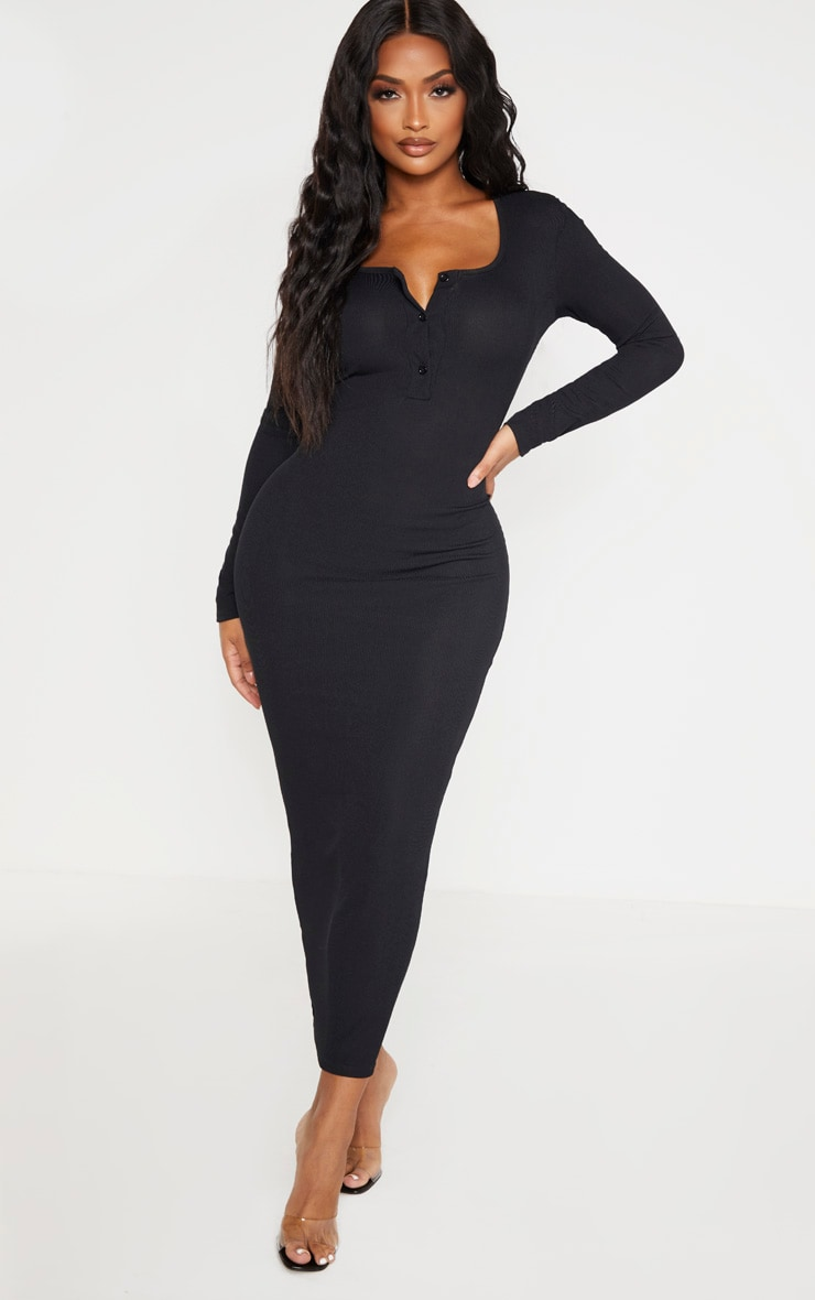 Shape Black Ribbed Button Front Long Sleeve Midaxi Dress 1