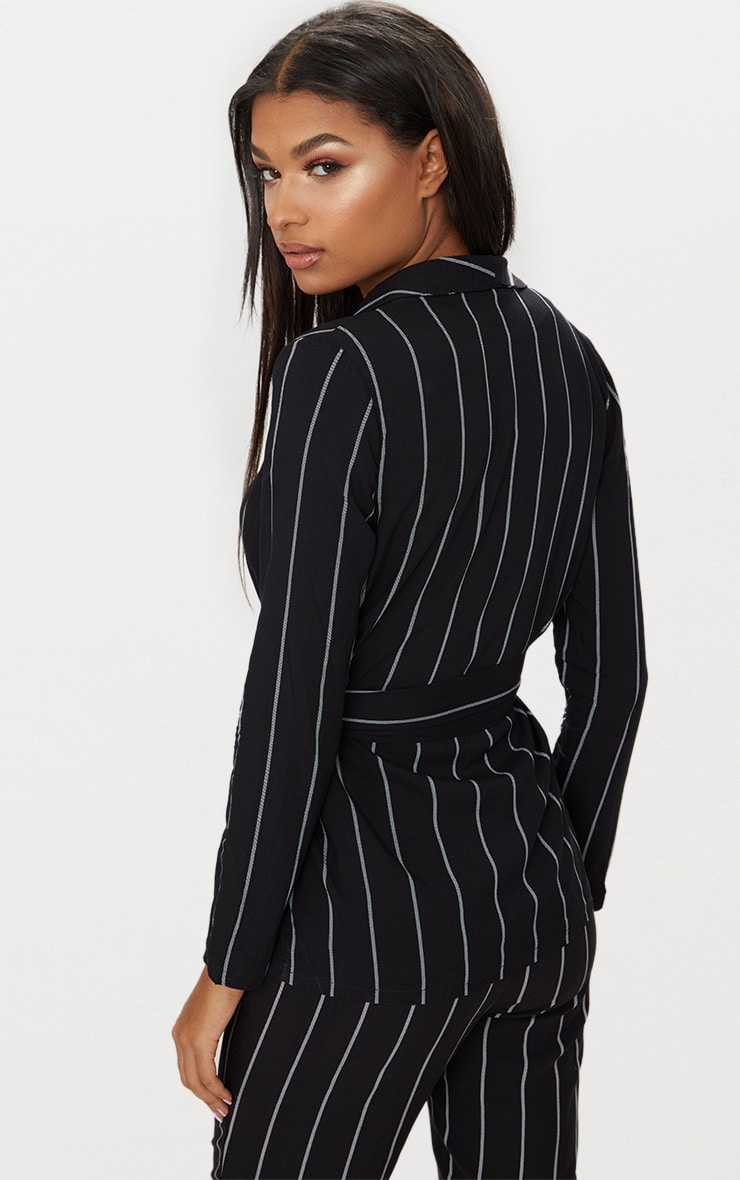 Black Pin Stripe Belted Blazer 2