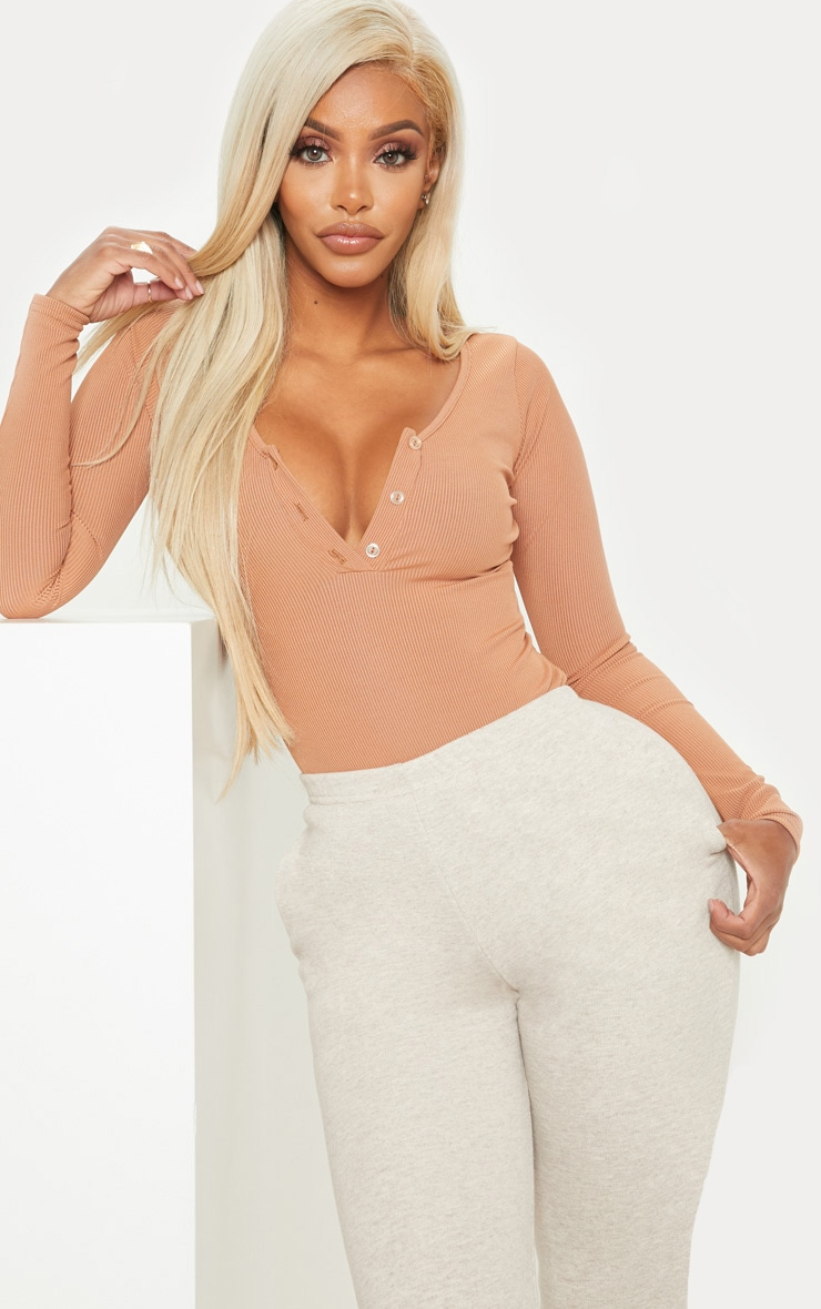 Shape Camel Ribbed Long Sleeve Bodysuit 1