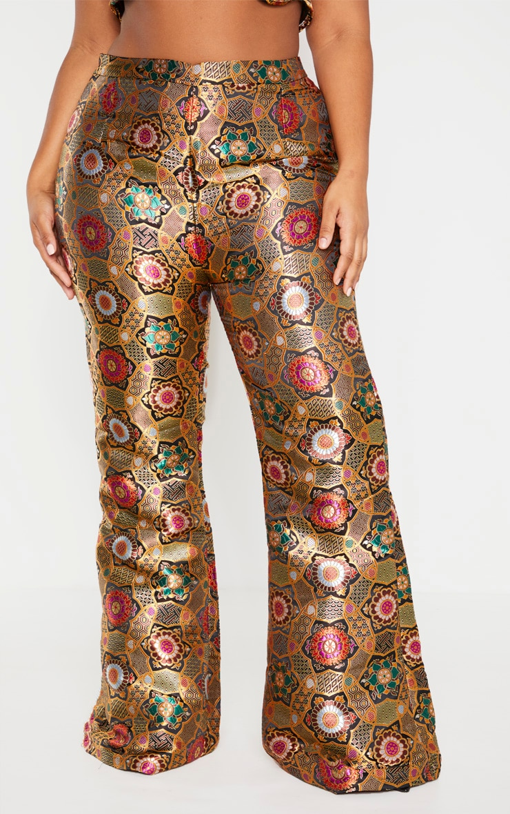 Plus Gold Jacquard High Waisted Flared Pants 2
