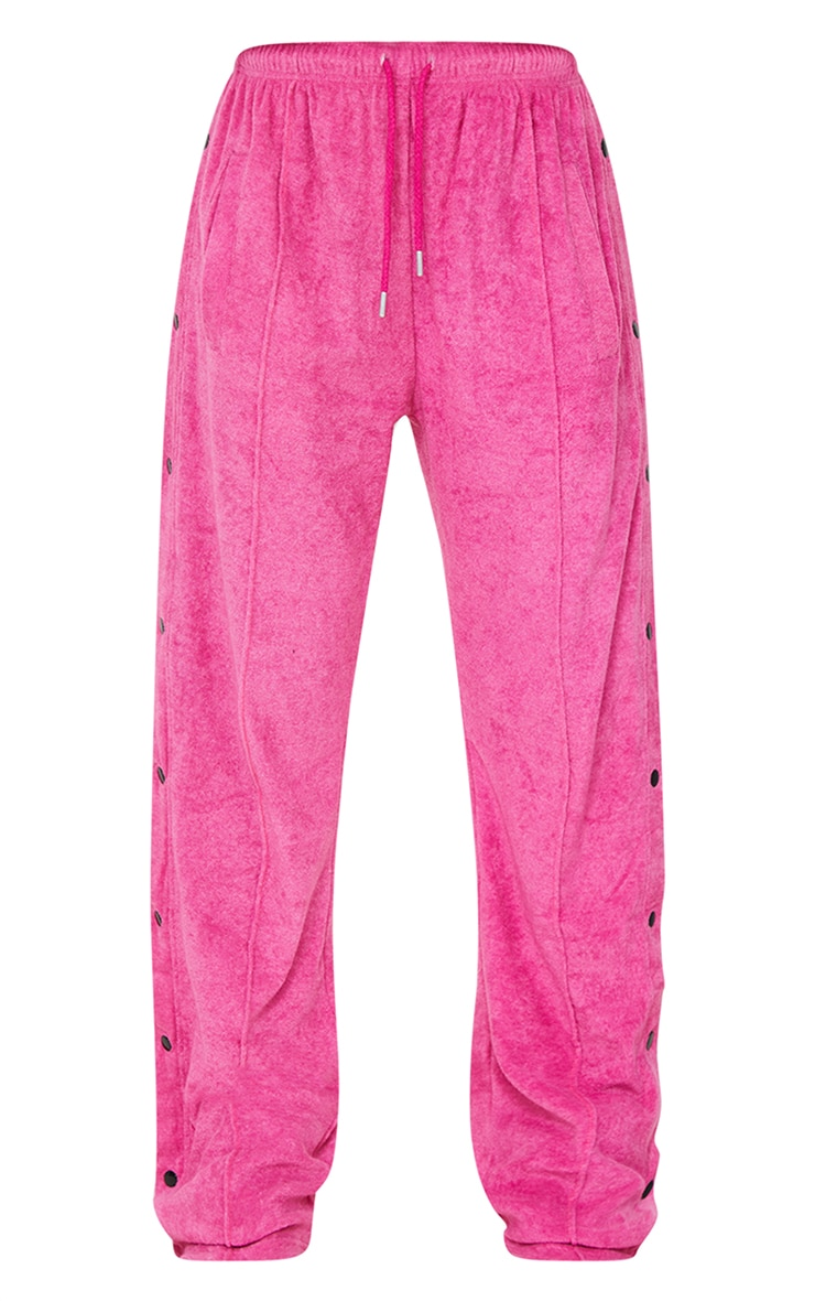 Hot Pink Towelling Popper Side Detail Joggers 5