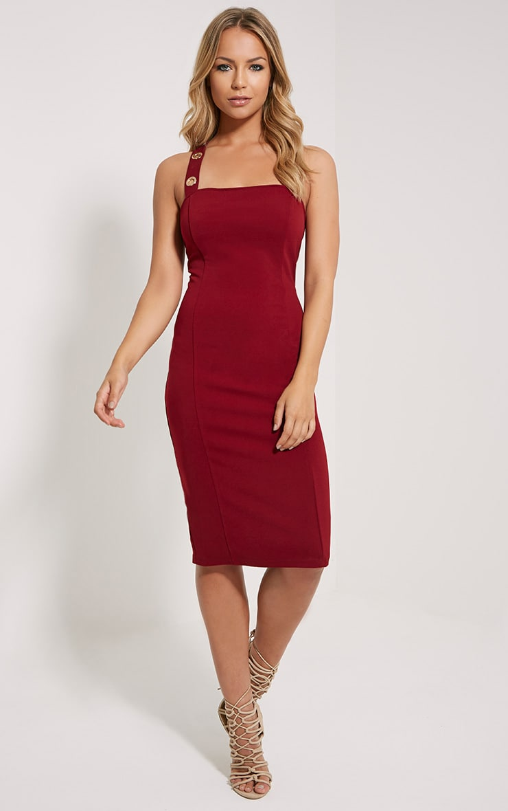 Dicie Wine Eyelet Midi Dress 3
