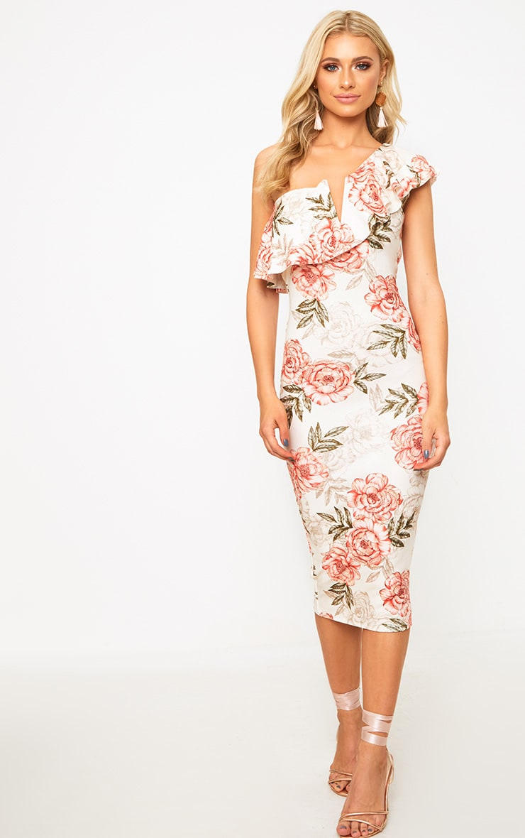 Pink Floral One Shoulder Ruffle Midi Dress 1