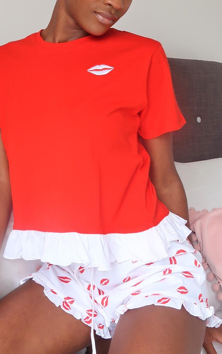 Red Kisses Print Frill Trim Shorts Pj Set 4