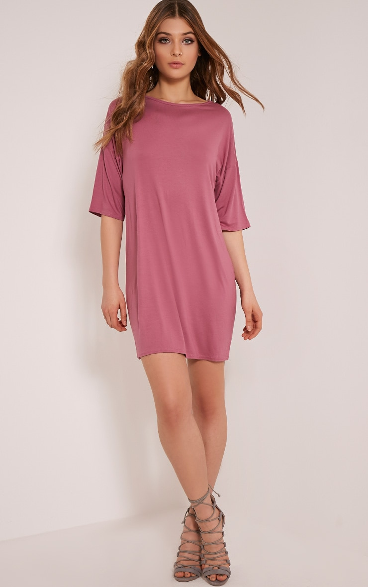 Basic Rose Drop Shoulder T Shirt Dress 5