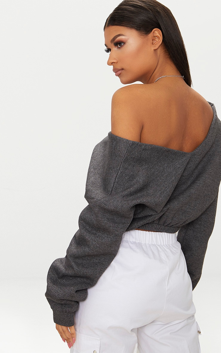 Charcoal Crop Off Shoulder Sweater  2