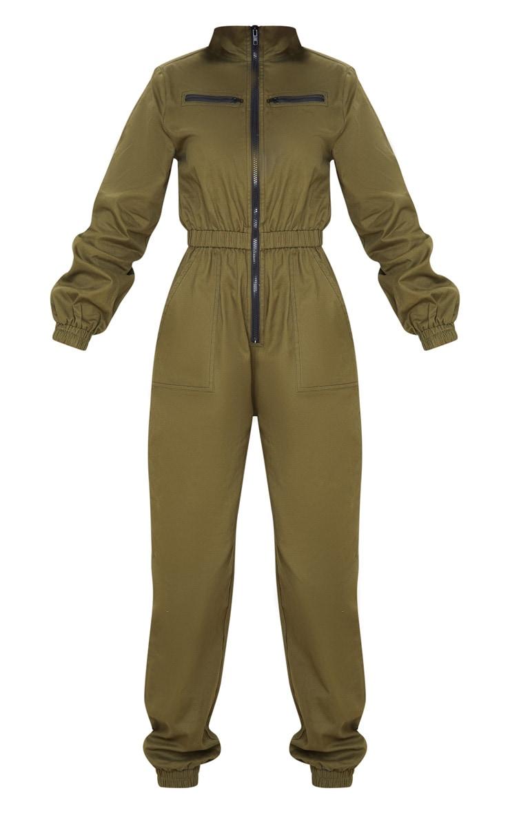Khaki Boiler Contrast Zip Jumpsuit 3