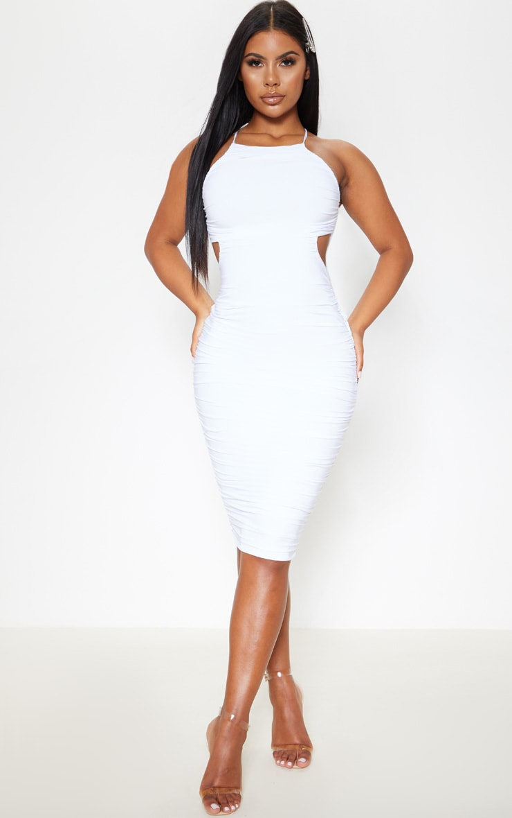 White Slinky Ruched Cross Back Midi Dress 1