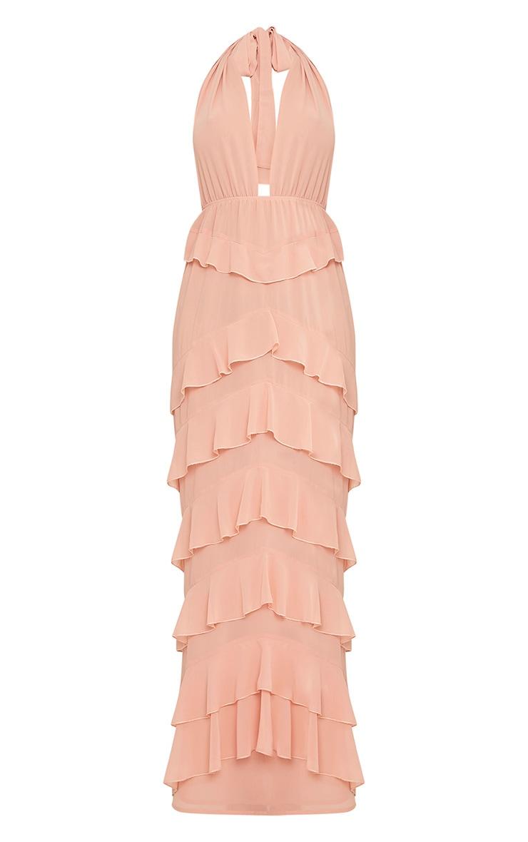 Jayden Blush Chiffon Frill Detail Maxi Dress  4