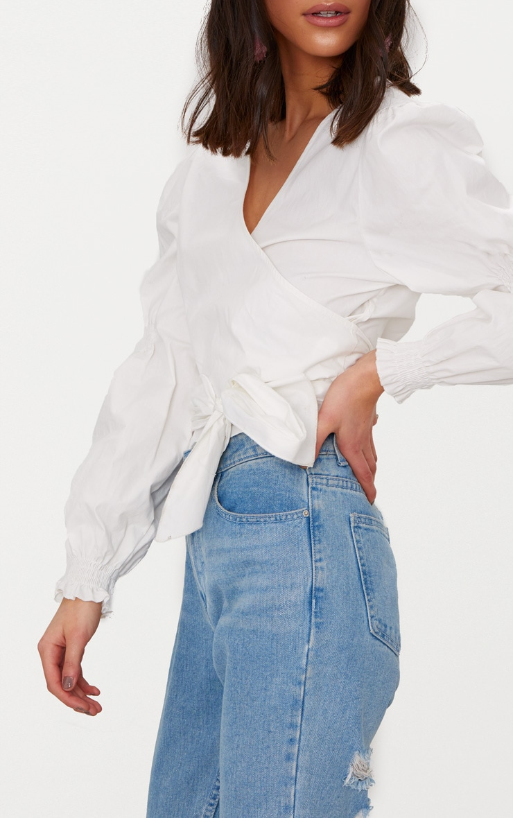 White Wrap Front Puff Shoulder Crop Shirt  5