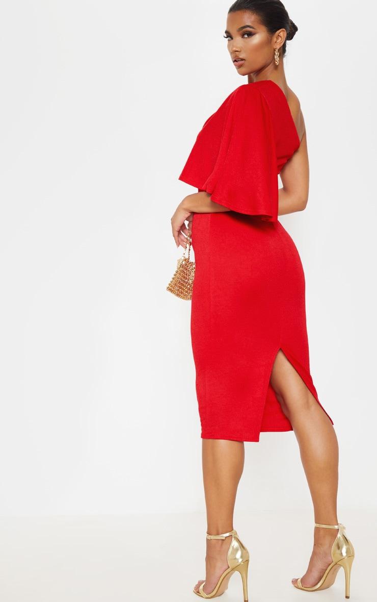 Red One Shoulder Cape Midi Dress 2