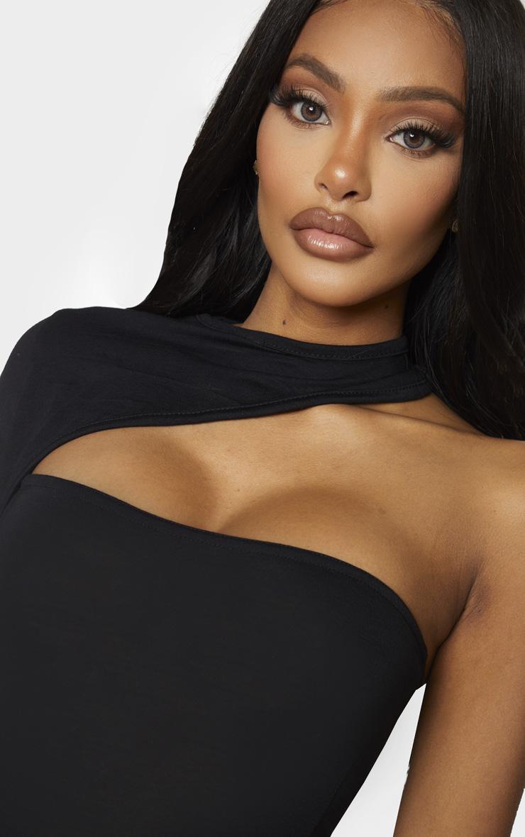 Shape Black Jersey High Neck One Sleeve Bodysuit 4