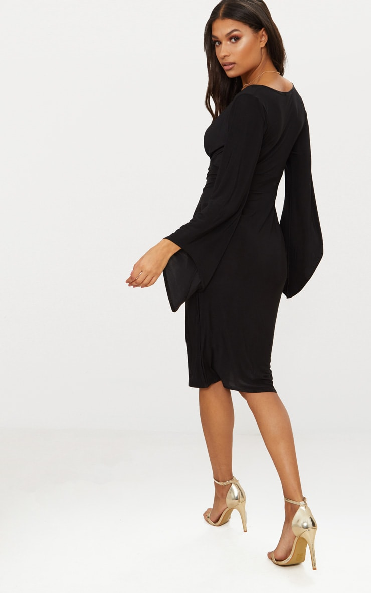 Black Flare Sleeve Ruched Panel Midi Dress 2