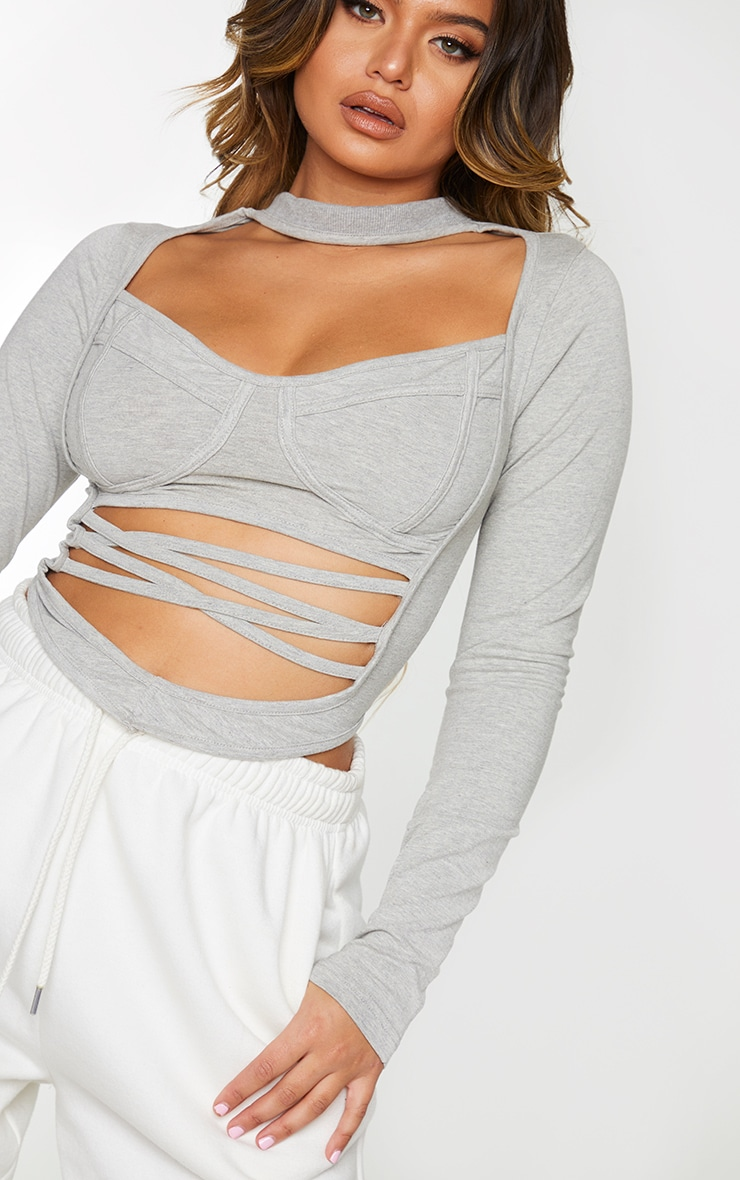 Grey Cotton Underbust Detail Cut Out Strappy Crop Top