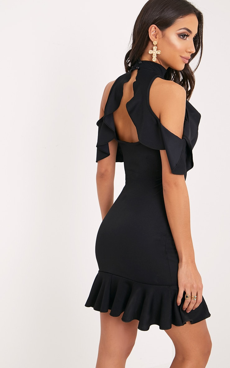Adley Black Frill Detail Crepe Bodycon Dress 2
