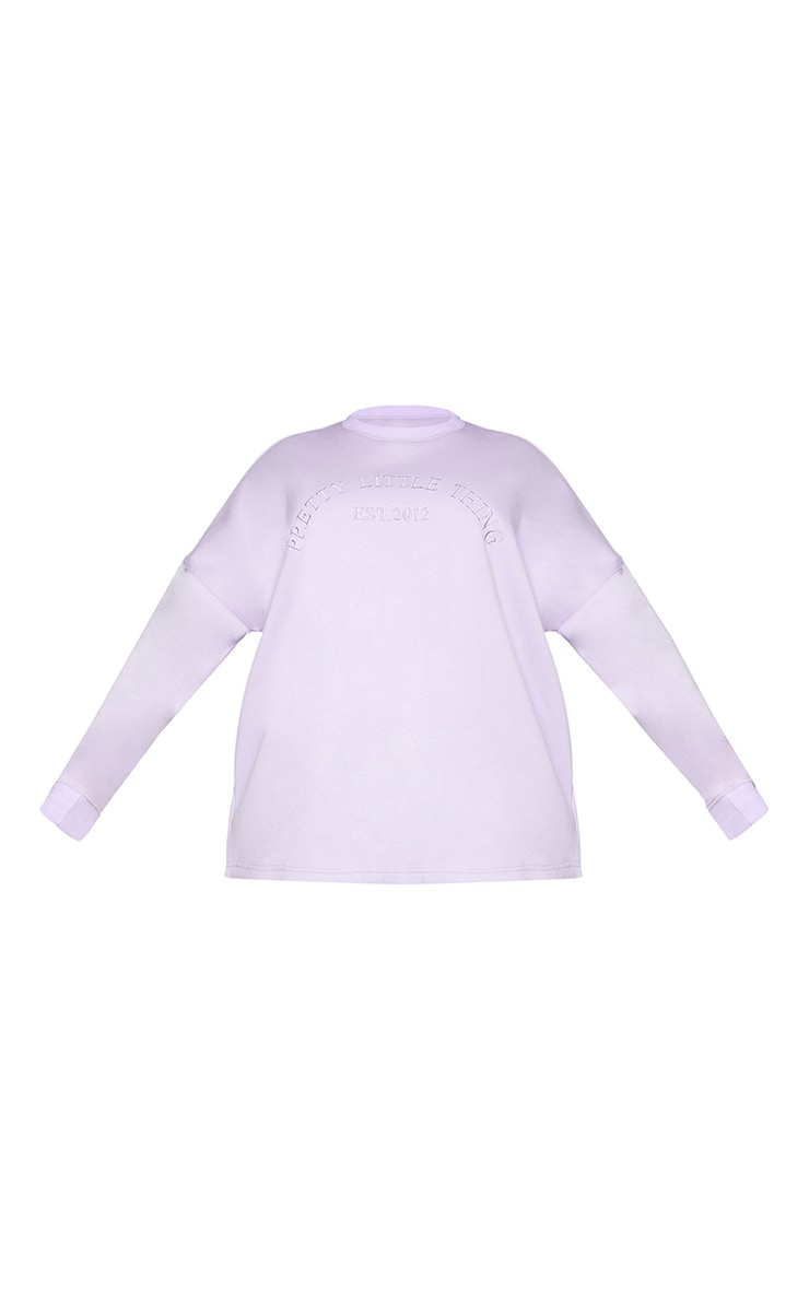 PRETTYLITTLETHING Plus Lilac Embroidered Oversized Sweater 5