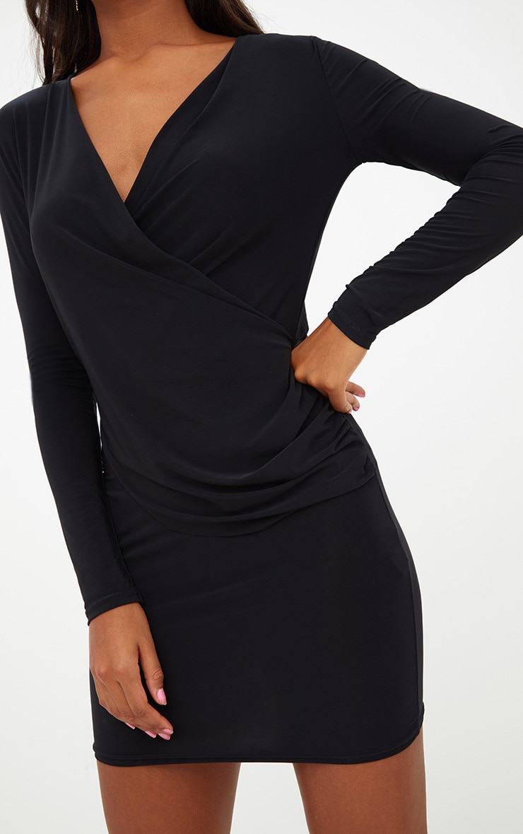 Black Slinky Ruched Wrap Over Bodycon Dress 5