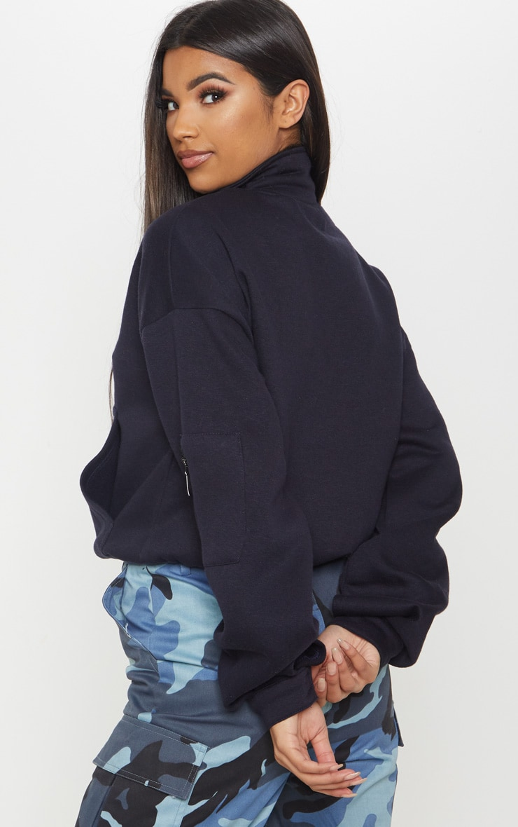 Navy Oversized Zip Front Sweater 2