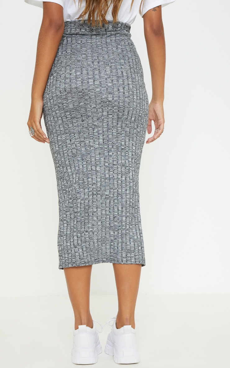 Grey Marl Textured Rib Button Front Midaxi Skirt 4