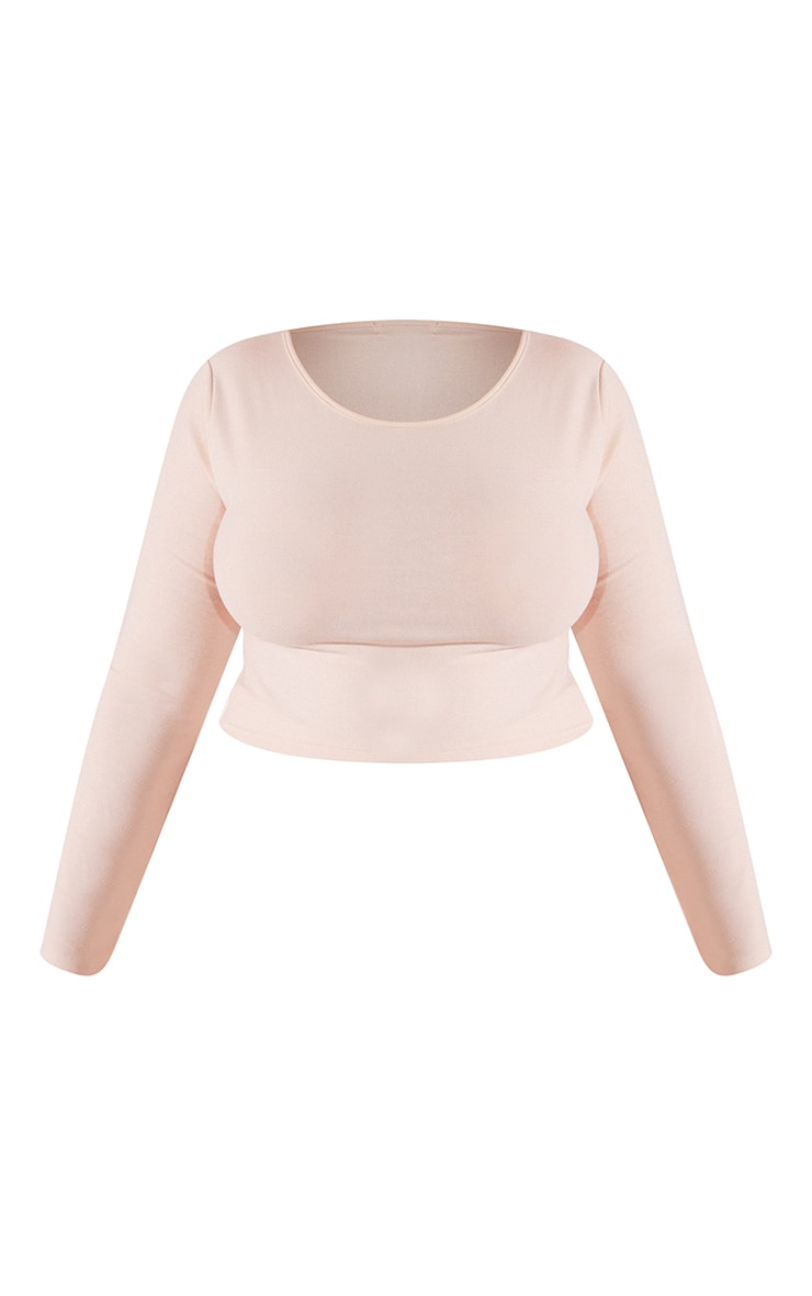 RECYCLED Plus Beige Jersey Long Sleeve T Shirt 5
