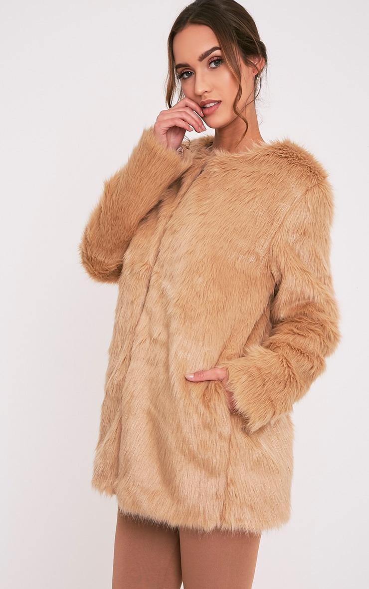 Florencia Tan Faux Fur Coat 3