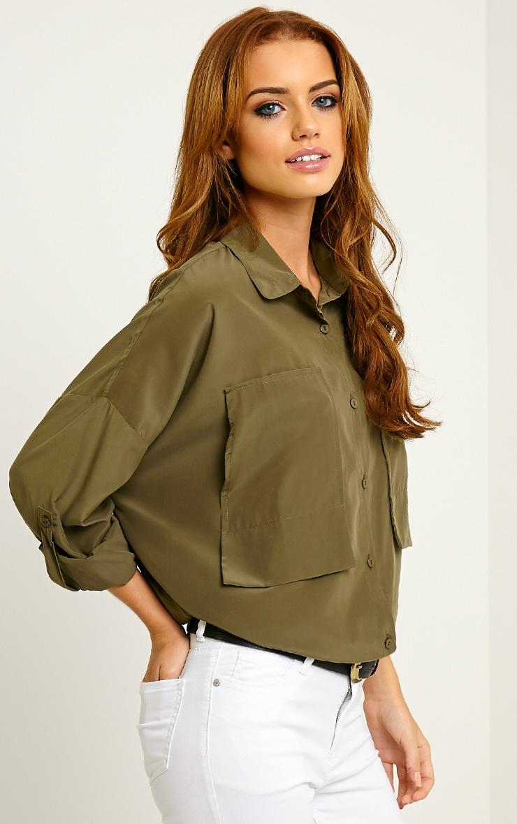 Birta Khaki Oversized Pocket Shirt 4