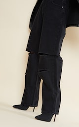 Petite Black Denim Baggy Low Rise Ripped Boyfriend Jeans 4