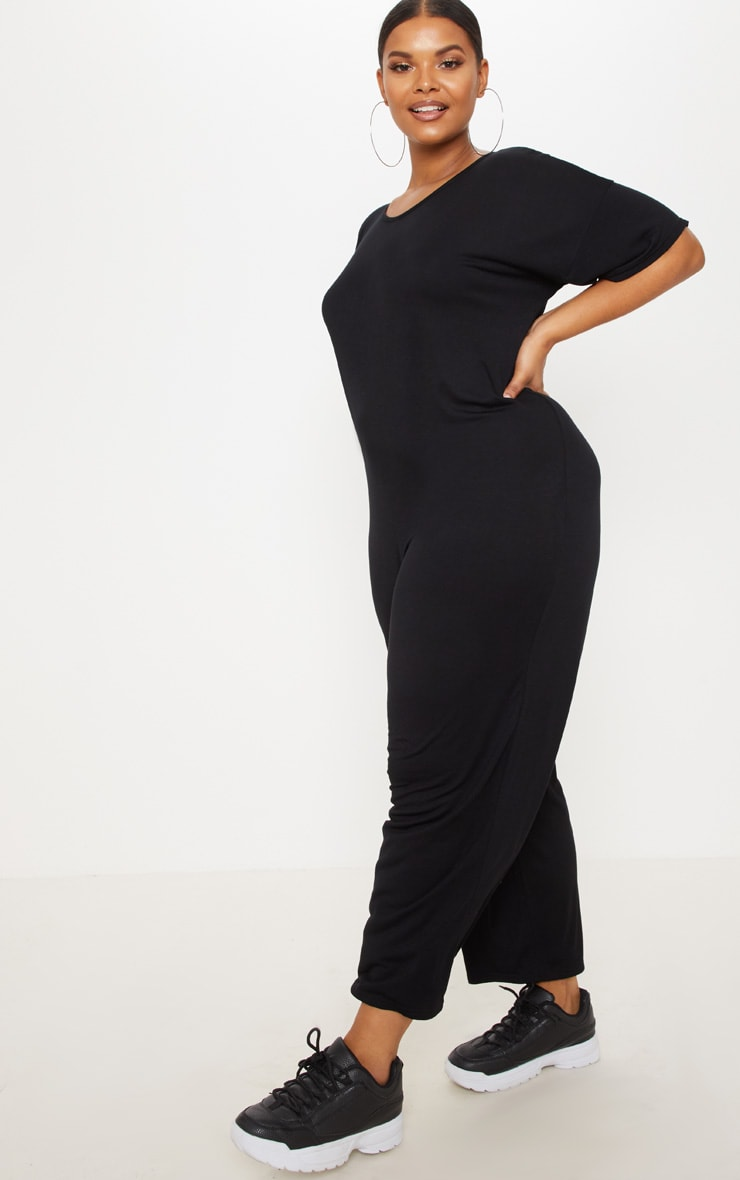 Plus Black Oversized T Shirt Culotte Jumpsuit 4