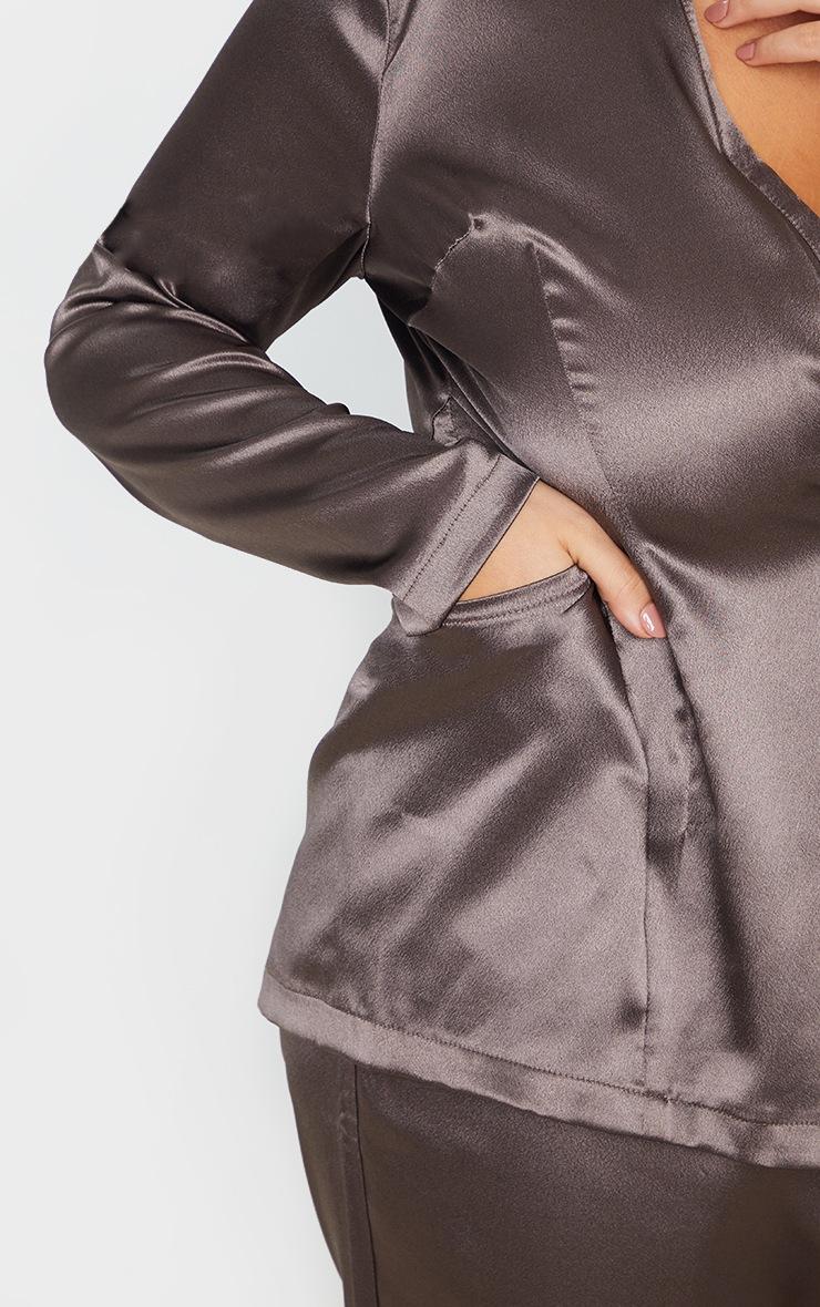 Plus Mocha Satin Pocket Detail Blazer 6