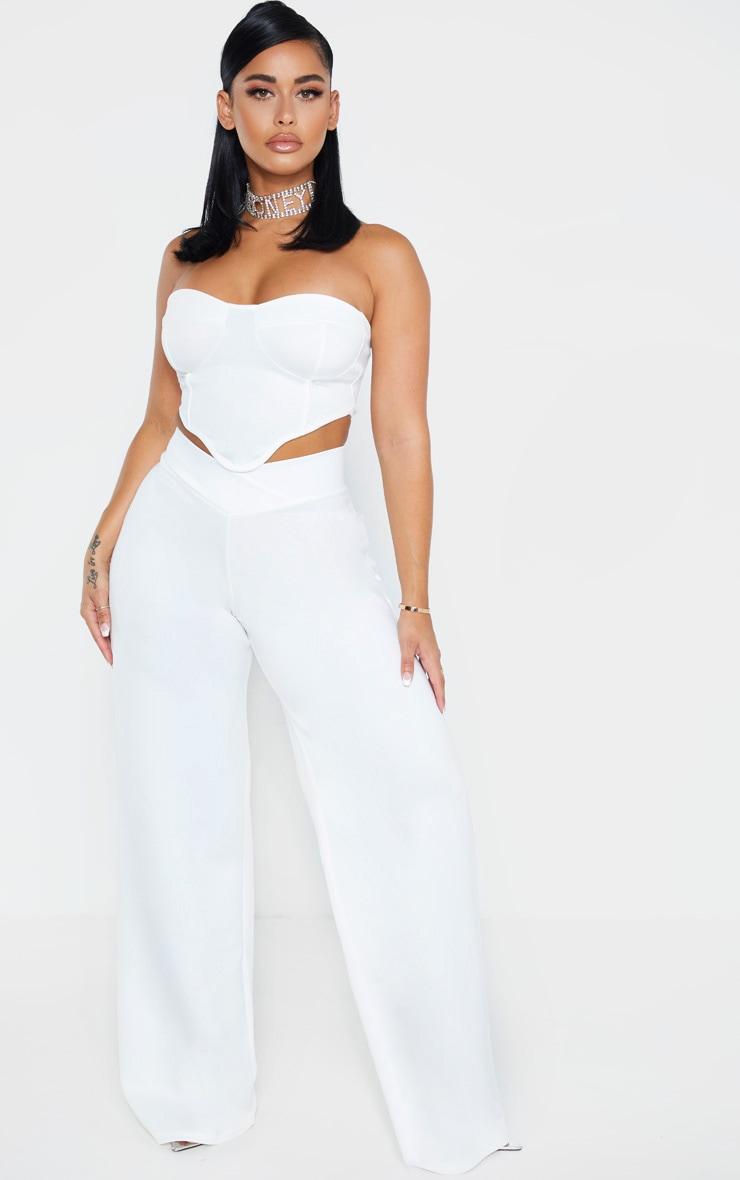 shape-white-scuba-v-waist-wide-leg-trouser by prettylittlething