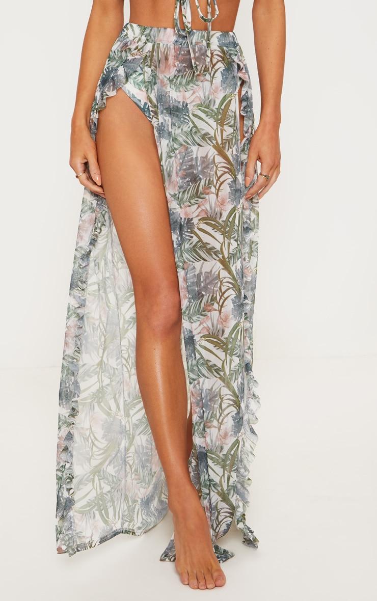 Pale Khaki Leafy Frill Split Maxi Skirt 2