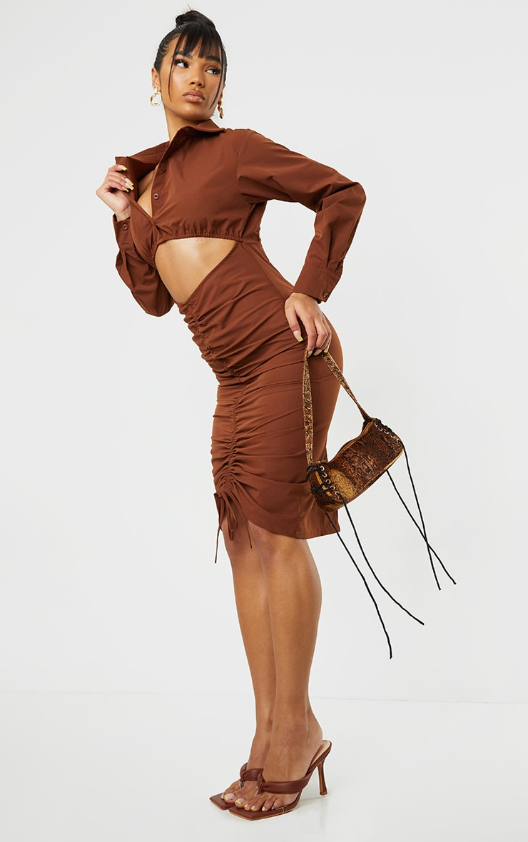 Chocolate Cut Out Ruched Skirt Detail Long Sleeve Shirt Dress 1